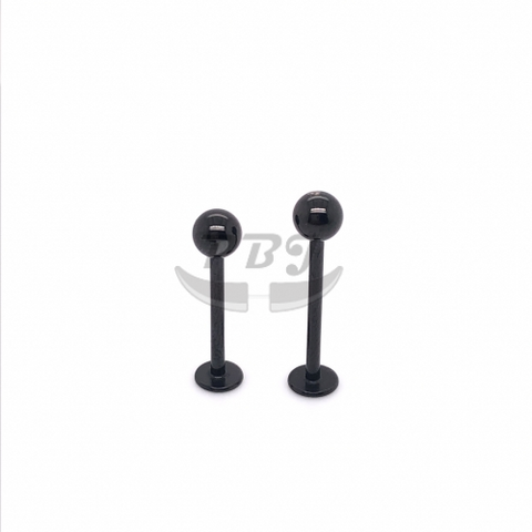 16G Long Labret w/ball-Black Steel