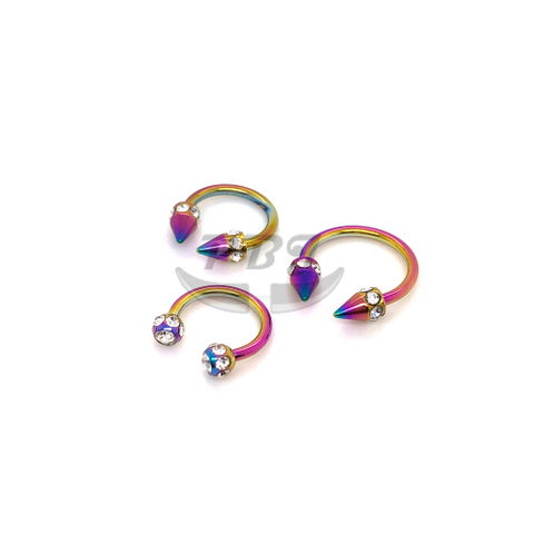 16G Muti Jeweld Rainbow Horseshoe(CBB)-Color Steel