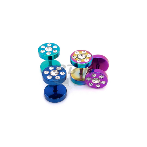 16G Multi Jeweled 0G Fake Plug-Color Steel