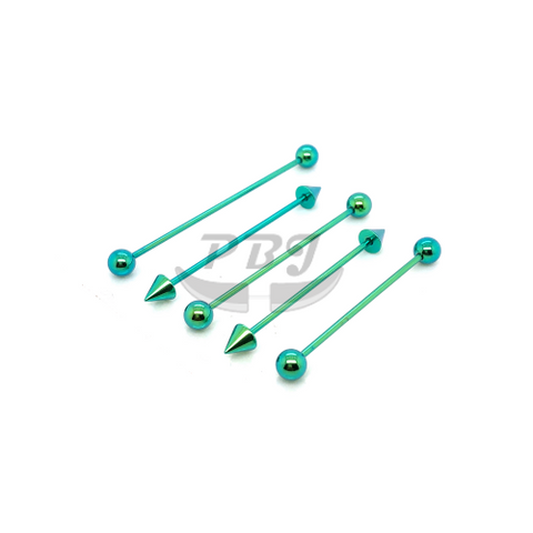 16G Industrial Barbell Green-Color Steel