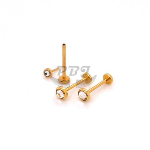 20G Gold Flat Gem Push Labret-Gold Steel