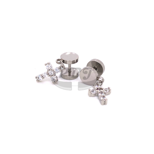 Fake Plug CZ Cross Dangle 16G, 4pcs Price-316L S. Steel