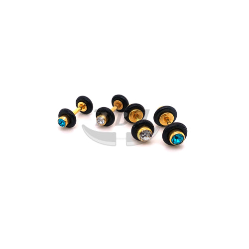 16G Jeweled 8G~6G Fake Plug-Gold Steel