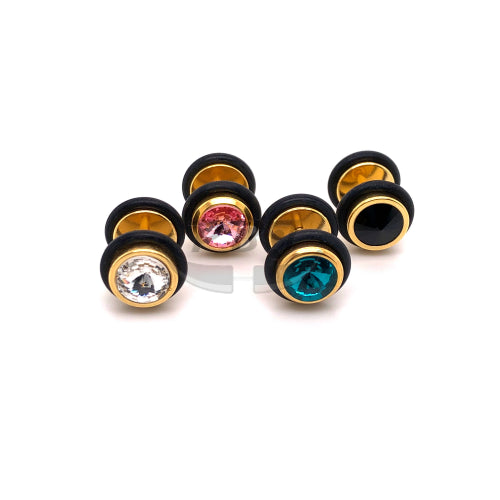 16G Jeweled 0G Fake Plug-Gold Steel