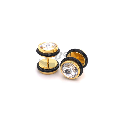 16G, Jeweled 00G Fake Plug-Gold Steel