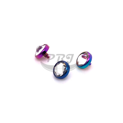 Color Steel Gem Dermal Anchort Top-316L S. Steel