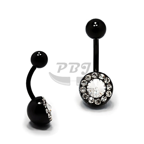 14G Multi Jeweled Belly-Black Steel