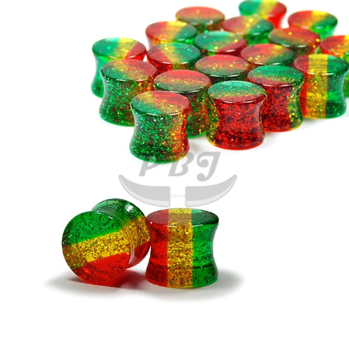 Rasta Glitter D. Flared Solid Plug, 4pcs/pack
