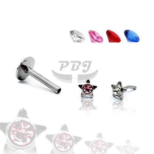 Labret Jeweled  Star Push-In 16G, 4pcs Price - 316L S. Steel