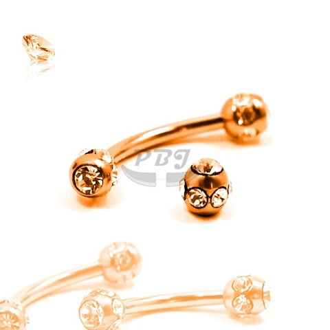 16G Rose Gold Multi Jeweled Eyebrow-Gold Steel