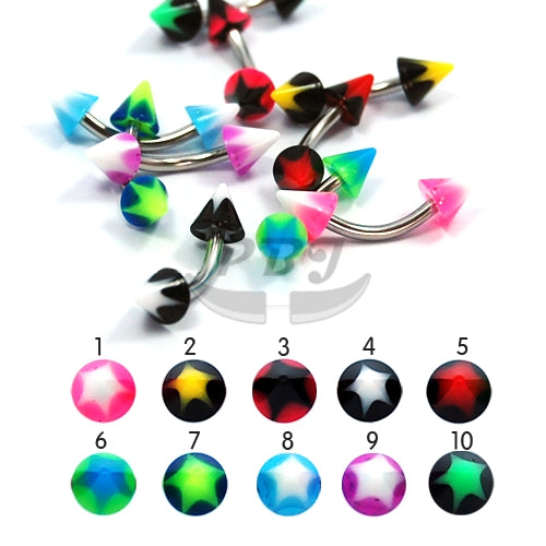 UV Eyebrow-21c Star Inlay Cone 16G, 4pcs/pack