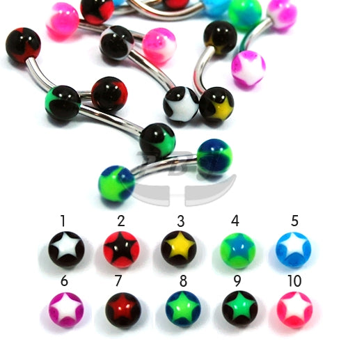 UV Eyebrow-13 Star Inlay 16G, 4pcs/pack