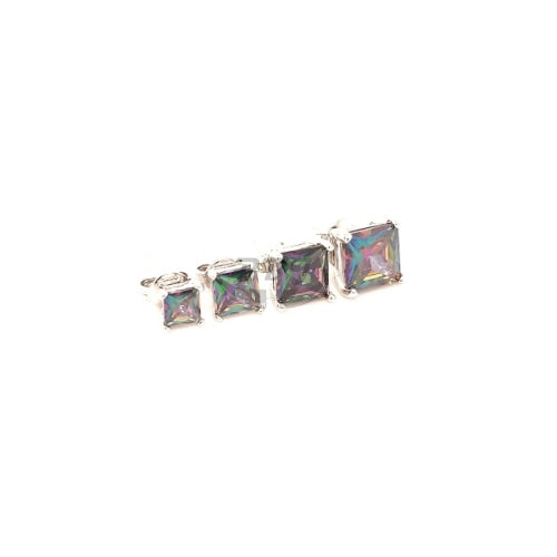 Rainbow Black Square CZ Earstud White Gold
