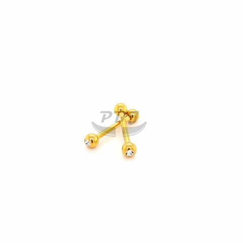 14G Double Jeweled Nipple-Gold Steel