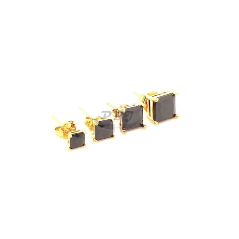 Square Black CZ Earstud Yellow Gold