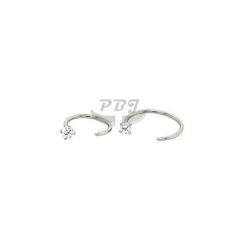 20G 1 CZ Prong Set Flexible Hoop 6pcs/pack Price-316L S. Steel