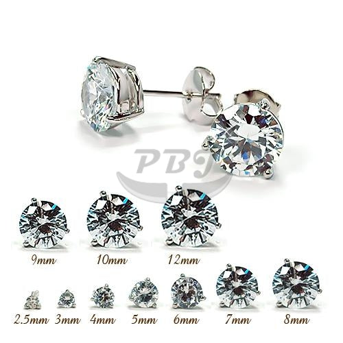 3 Prong Round Clear CZ Earstud White Gold