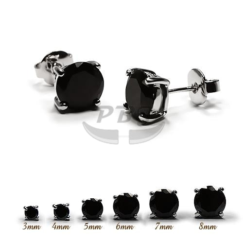 4 Prong Round Black CZ Earstud White Gold