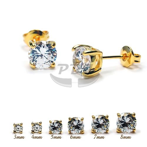 4 Prong Round Clear CZ Earstud Yellow Gold