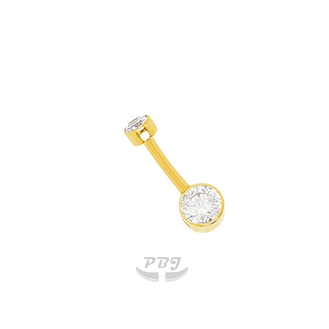 14K Gold 14g*4/6 cz Drum Style Belly Ring