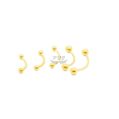 16G Long Curved Barbell-Gold Steel