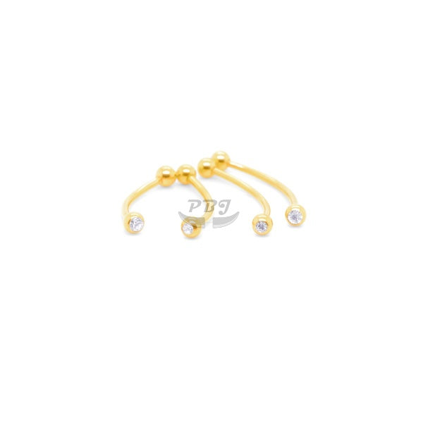 16G Gold Jeweled Long Curved Barbell-Gold Steel