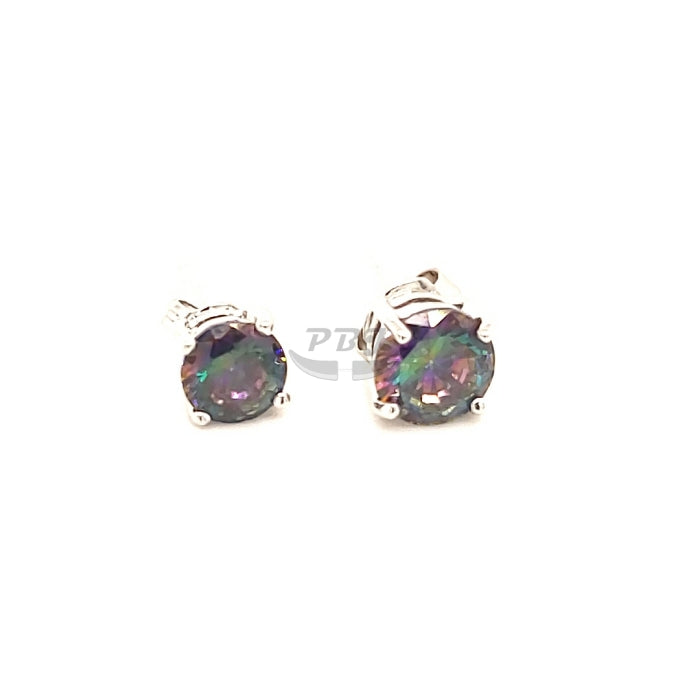 4 Prong Rainbow Black Round CZ Earstud White Gold