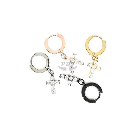 Round Shape Hoop Earring w/CZ Cross Dangle - 316L S. Steel