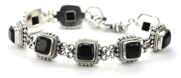 B002BOF PADMA Faceted Black Onyx Station Bracelet