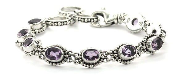 B004AM PADMA Faceted Amethyst Station Bracelet