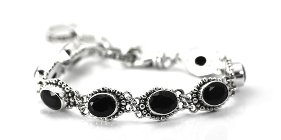 B004BOF PADMA Faceted Oval Black Onyx Station Bracelet