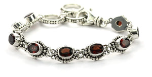 B004FG PADMA Faceted Garnet Station Bracelet