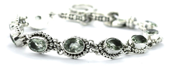 B004GA PADMA Faceted Green Amethyst Station Bracelet