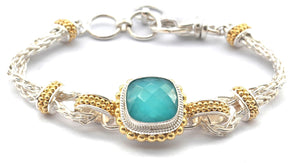PADMA Turquoise Doublet and 18k Gold Vermeil Station Bracelet B009TQFG
