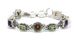 B012AS PADMA Citrine, Amethyst, and Peridot Station Bracelet