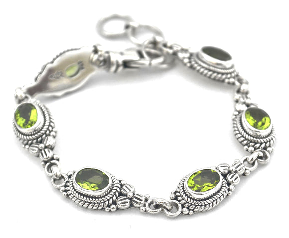 B012PD PADMA Faceted Peridot Flower Station Bracelet