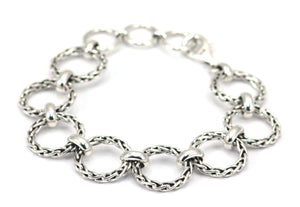B105 SURA Sterling Silver Round Wheat Chain Station Bracelet