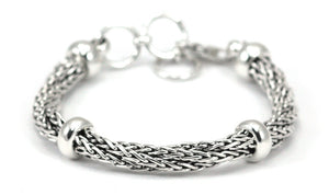 B106 SURA Sterling Silver Wheat Chain Twist Bracelet
