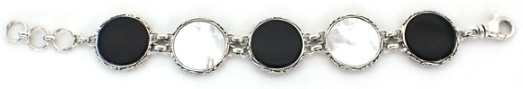 B150BO/MP LOVINA Sterling Silver, Onyx and Mother of Pearl Link Bracelet