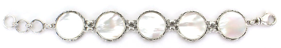 B150MP LOVINA Sterling Silver Link Bracelet with Mother of Pearl
