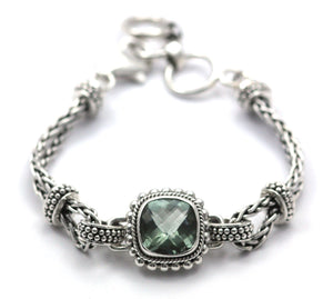 B215GA PADMA Center Station Green Amethyst Bracelet