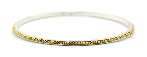 B299G INDA Hand Beaded Bangle Bracelet with 18k Gold Verimeil