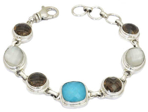 B301AS PADMA Link Bracelet With Turquoise Doublet, Mother of Pearl Doublet and Smoky Quartz