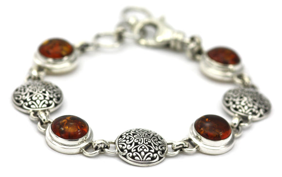 B303AB PADMA Amber and Filigree Round Station Bracelet