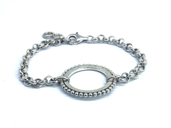 B309 DASA Center Hammered Ring Station Bracelet