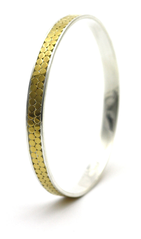 B319G KALA Two Row Bangle Bracelet with 18k Gold Vermeil