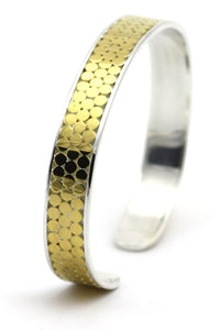B320G KALA Three Row Cuff Bracelet with 18k Gold Vermeil