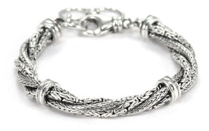 B522 DEWI Four Strand Twist Bracelet with Two Different Intertwined Chain Types