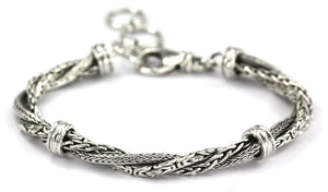 B523 DEWI Three Strand Twist Bracelet with Three Different Intertwined Chain Types