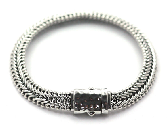 B702 DASA Flat Flexible Herringbone Bracelet With Hammered Barrel Clasp